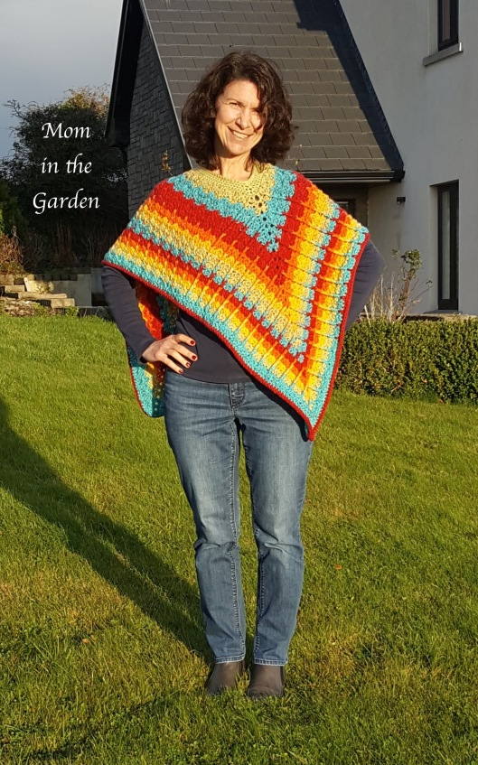 completed rainbow poncho