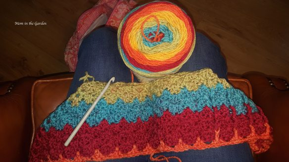 Caron Cakes yarn in Rainbow sprinkles color with start of poncho