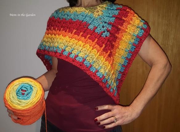 rainbow poncho half finished