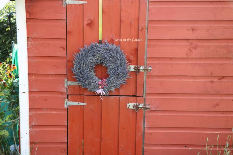 Completed Lavender Wreath on playhouse