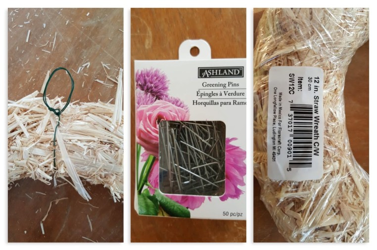 floral pins, straw wreath frame, and hanging hook