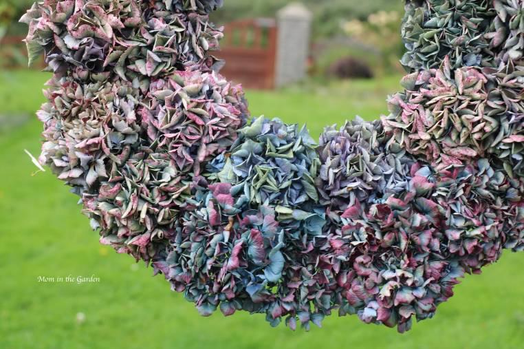 blue hydrangea wreath bottom half close up