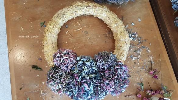 blue hydrangea wreath in process