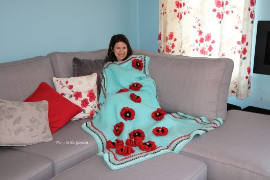 Blue Blanket with poppies + Dana in Family room
