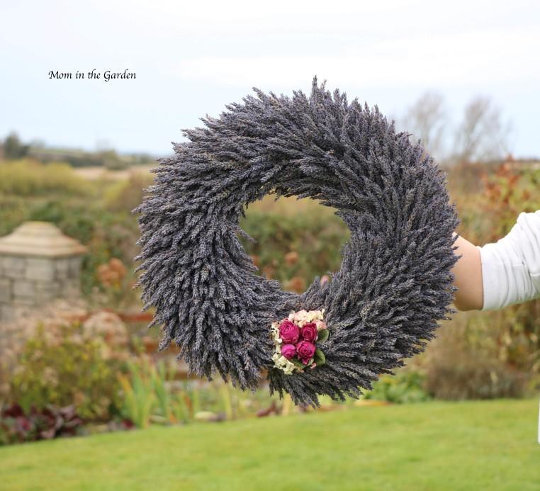 Lavender wreath + fuschia roses full view