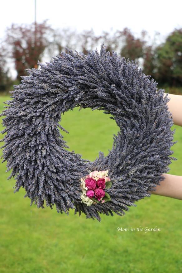 Lavender wreath + fuschia roses + hydrangea full view