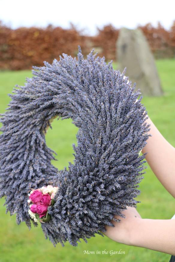 Lavender Wreath + fuschia roses side view