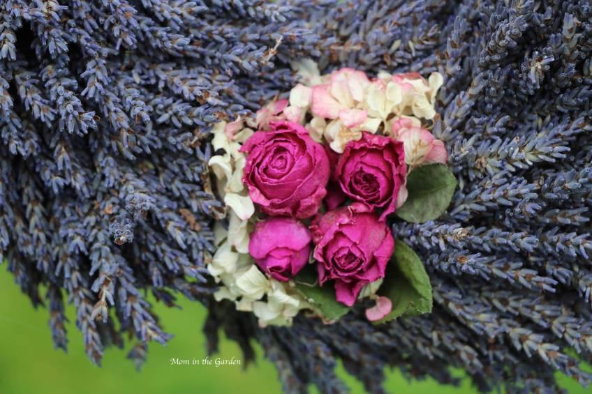 Lavender wreath + hot pink roses + hydrangea