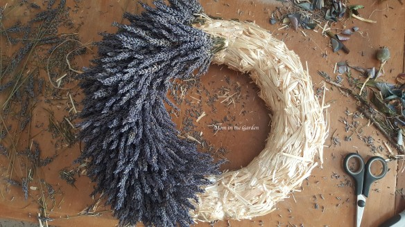 Lavender Wreath in progress - half way