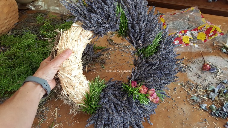 Lavender wreath + Rosemary in progress