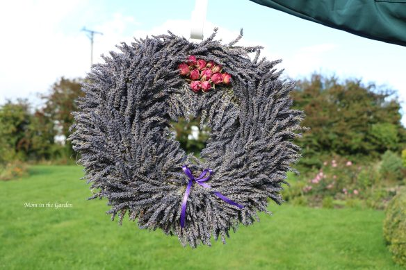 Lavender wreath roses on top + ribbon