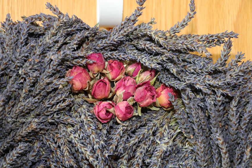 Lavender wreath with roses on top