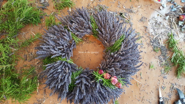 Lavender Wreath with Rosemary + roses complete