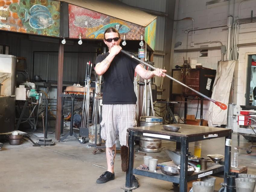 hot shop demonstration of blown glass