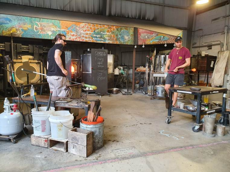 demonstration of blown glass at the 'hot shop'