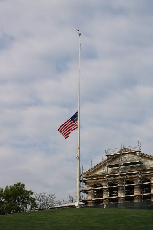 American flag at half mast at Arlington National Cemetery