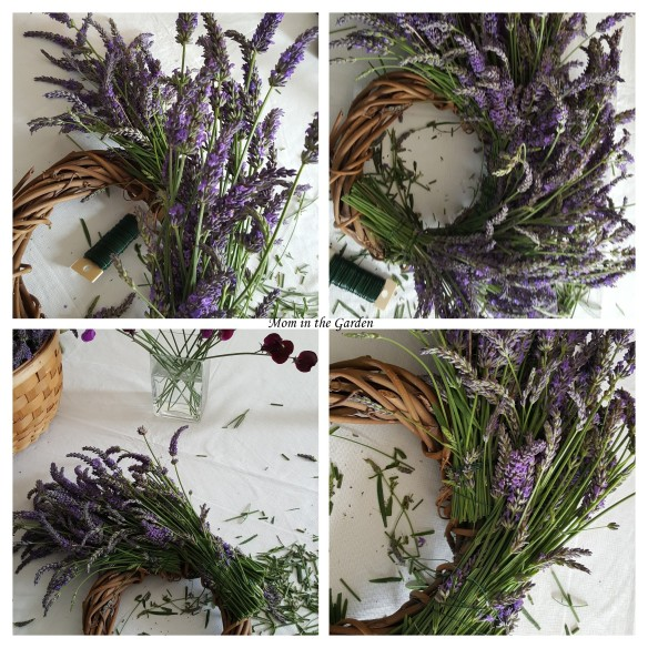 Lavender wreath in progress collage
