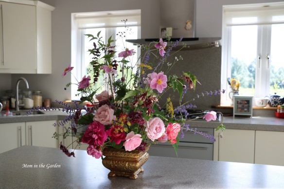 Rose arrangement in kitchen