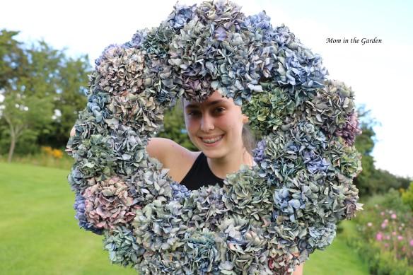 Hydrangea Wreath + my daughter