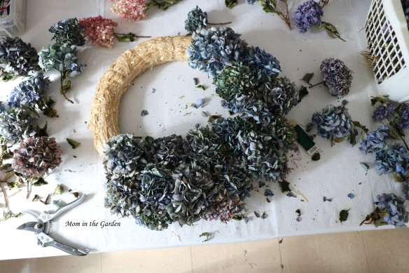 Hydrangea Wreath half finished
