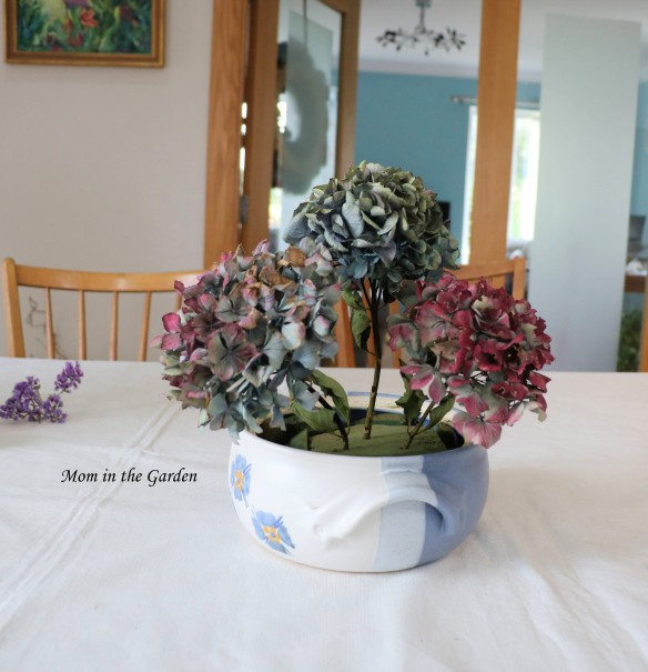 Hydrangea arrangement in progress 2