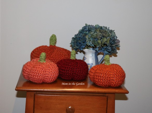 hydrangea arrangement with pumpkins
