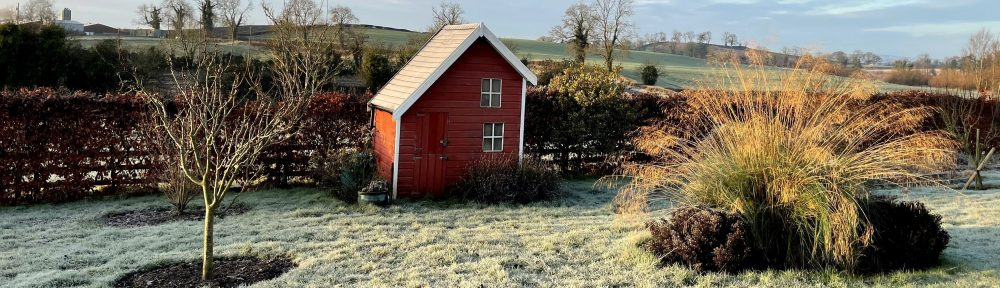 Blue sky frosty morning view of playhouse