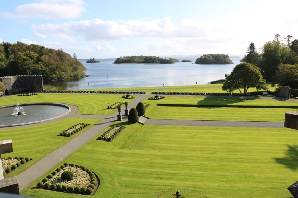 view of Ashford Castle grounds from bedroom