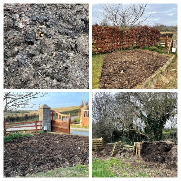 collage of compost and freshly dug bed
