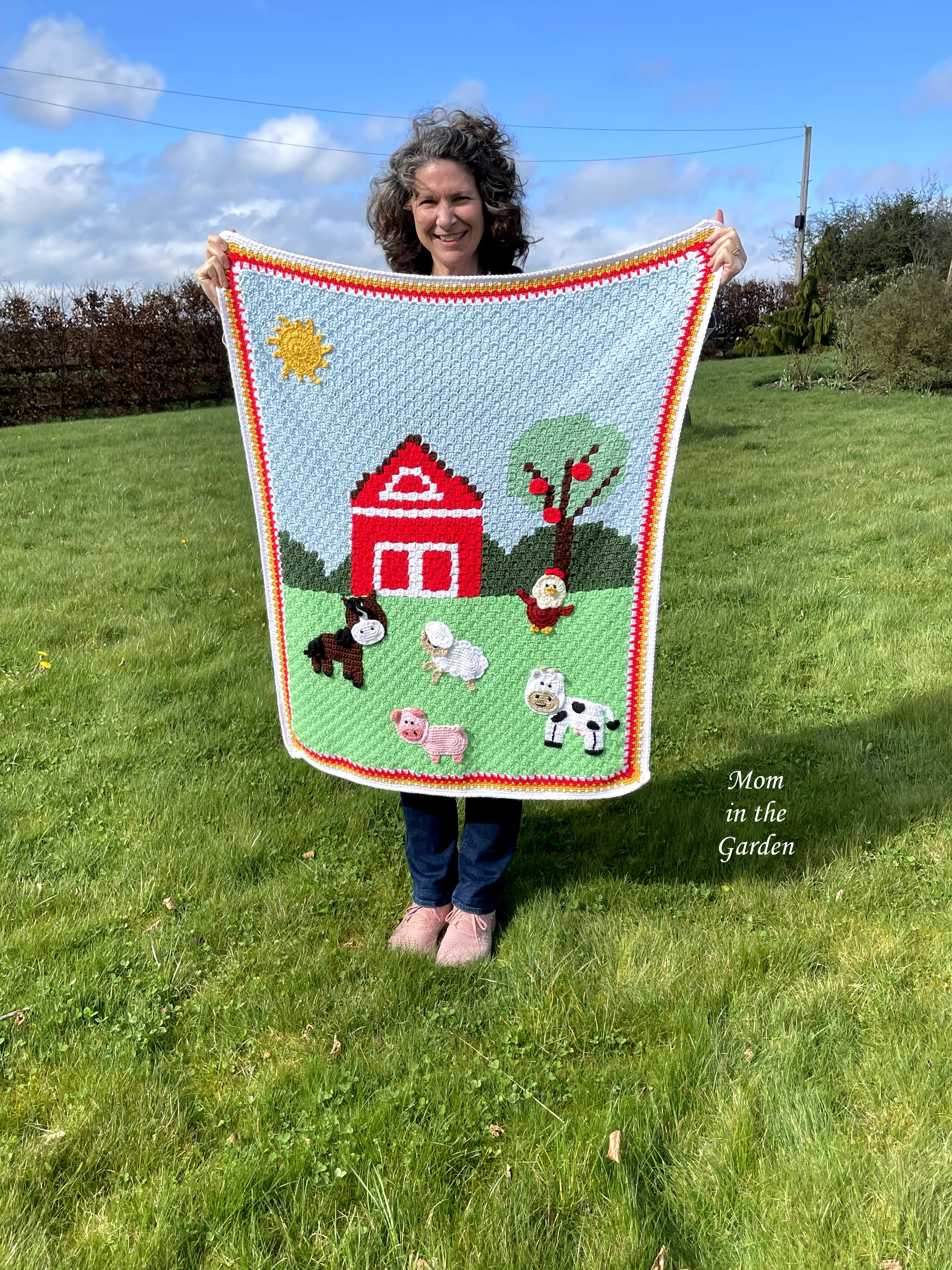 Dana and completed farm animal baby blanket