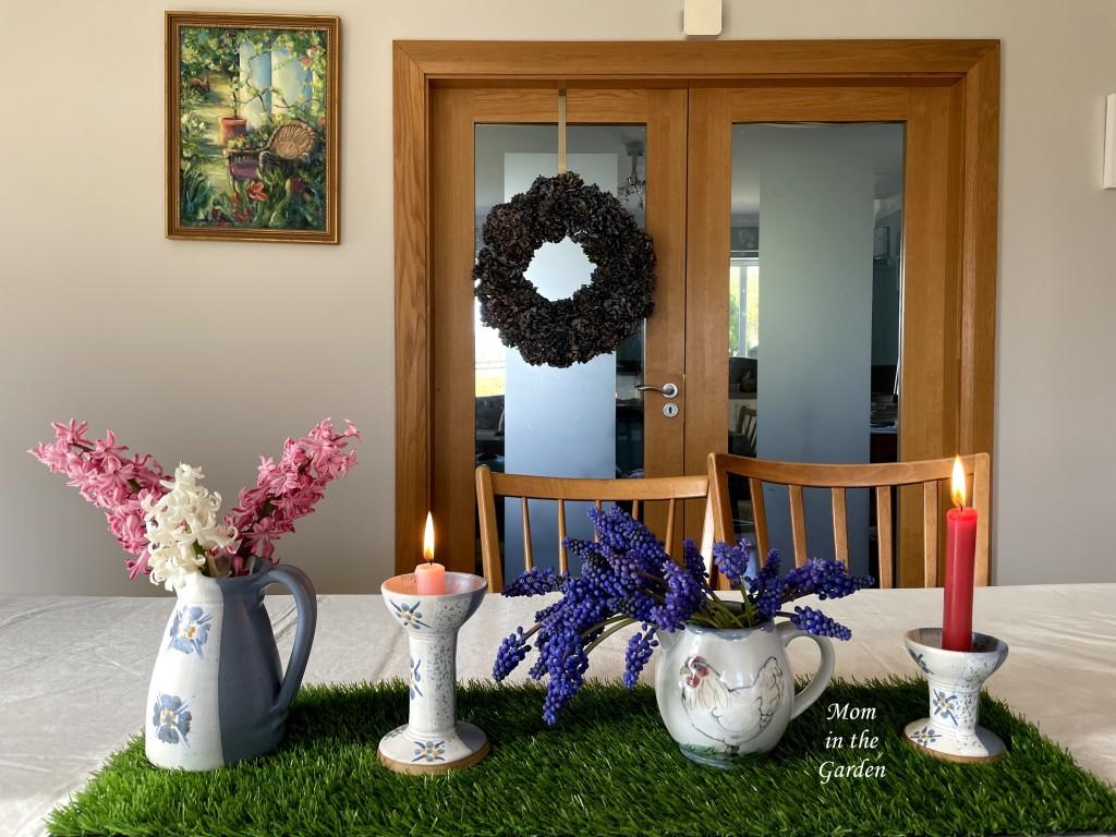 hyacinth, grape hyacinth and candles