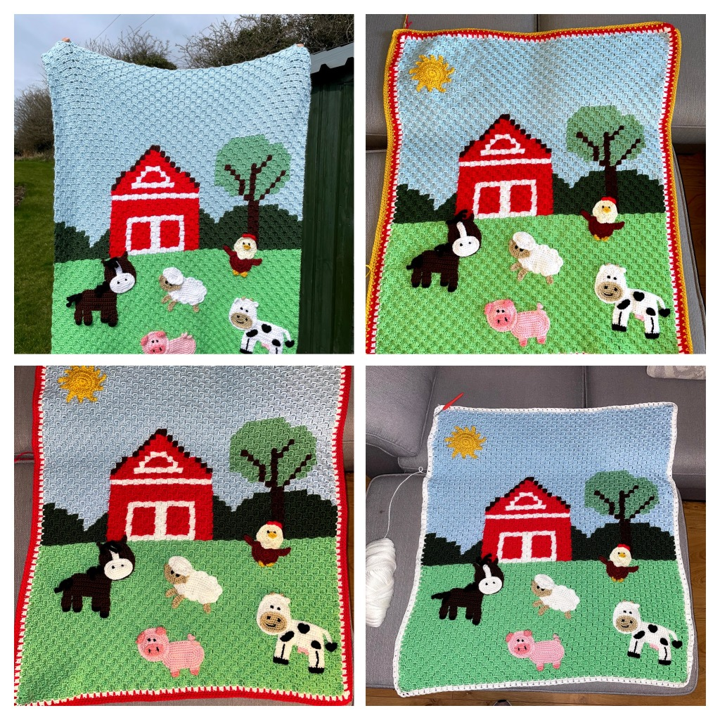 completed farm animal baby blanket with different borders