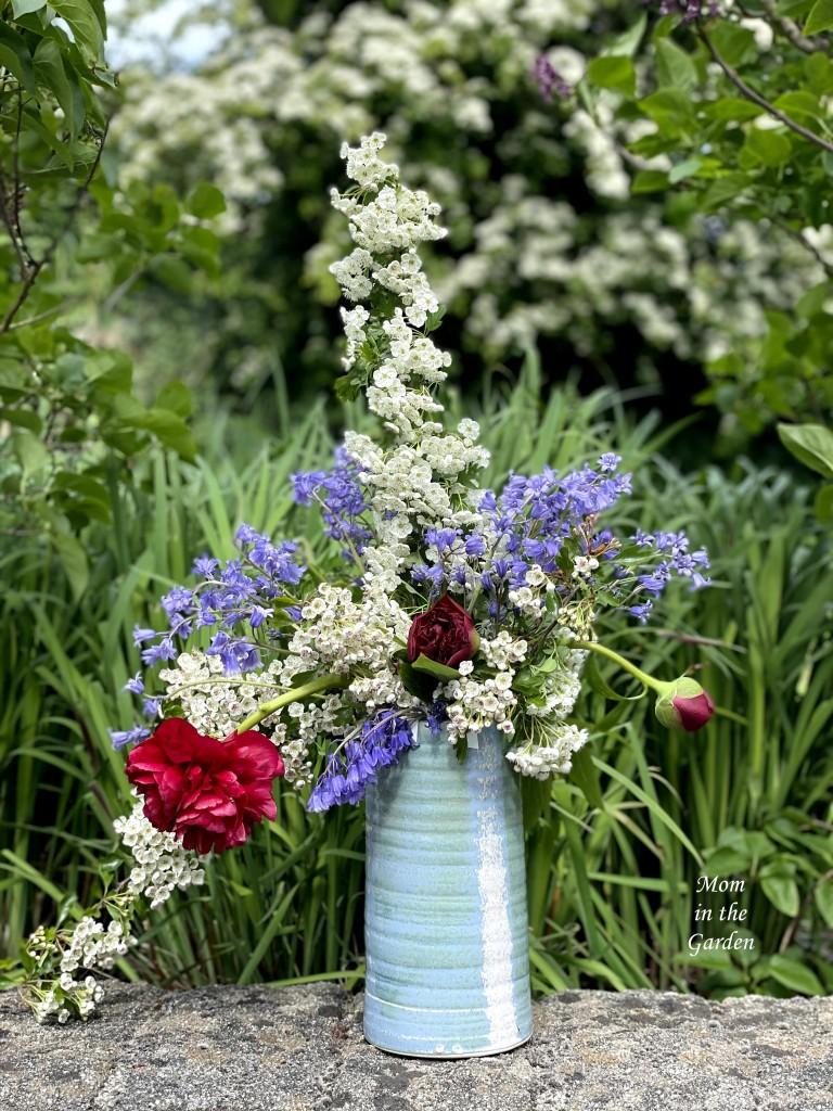 Hawthorn Peony blue bells floral arrangement