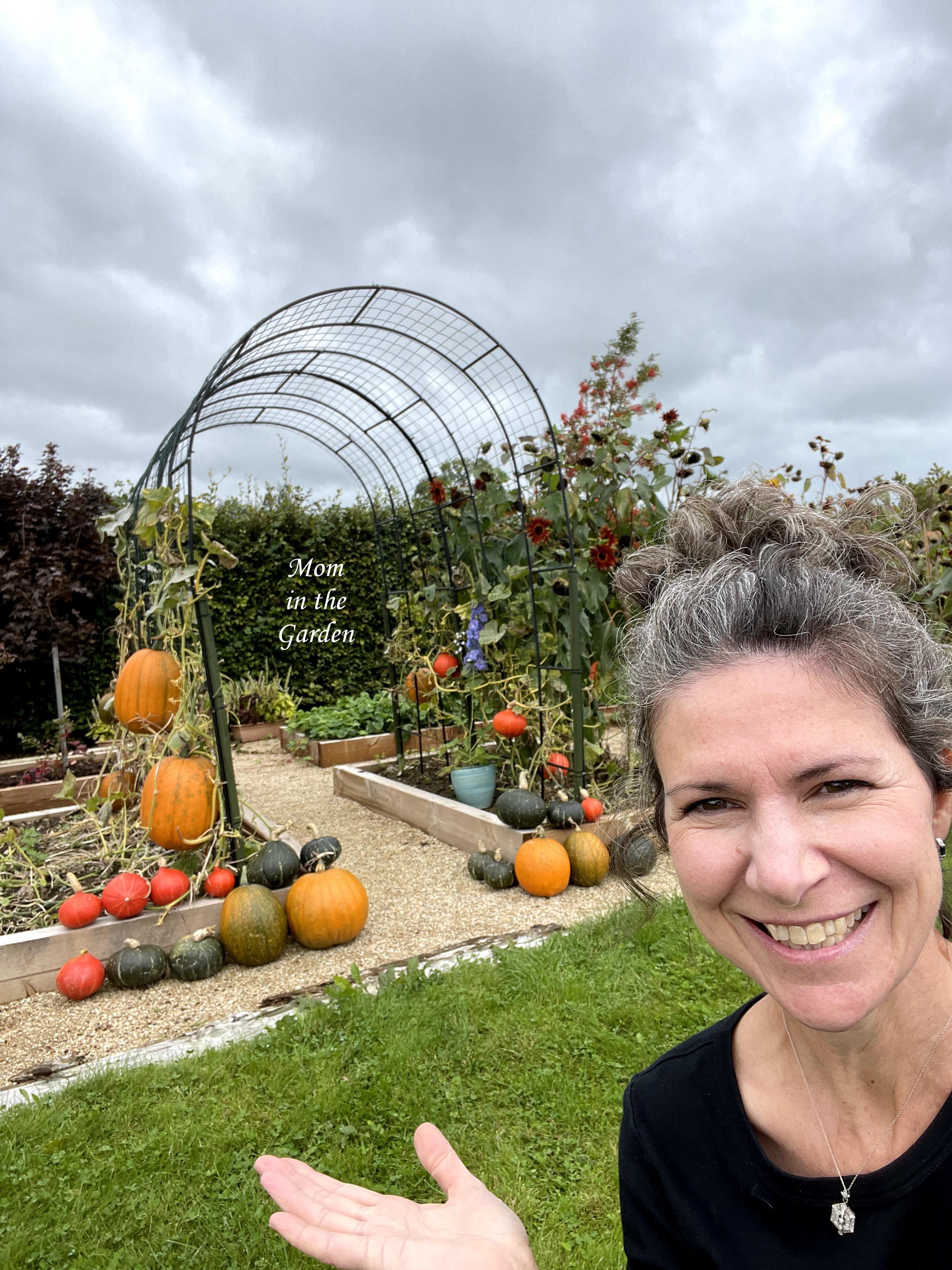 Dana with Pumpkin arch and squash